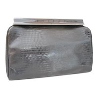 Vintage Faux Black Leather Clutch Handbag