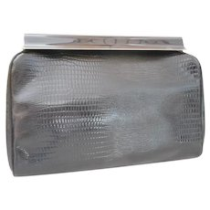 Vintage Faux Black Leather Clutch Handbag