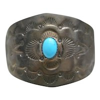 Sterling Silver & Sleeping Beauty Turquoise Vintage Hair Pin