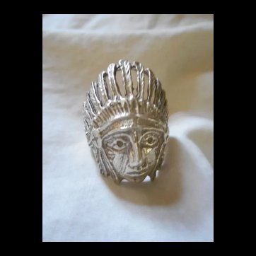 Sterling Silver Indian Bust Vintage Ring