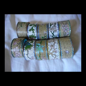 Cloisonne Ten Hand Made Napkin Rings In Box