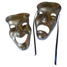 Comedy Tragedy Vintage Brass Wall Masks