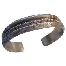 Sterling Silver Stamped Vintage Cuff Bracelet