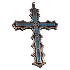 Sterling Silver Turquoise Large Vintage Cross