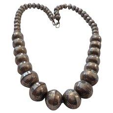 Navajo Stamped Sterling Beaded Vintage Necklace