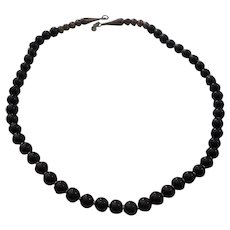 Sterling Silver Onyx Vintage Necklace Earrings & Ring