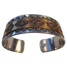 Navajo Sterling & 12K GF Stamped Cuff Bracelet