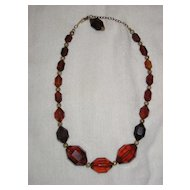 Bakelite Cherry Amber Faceted Necklace