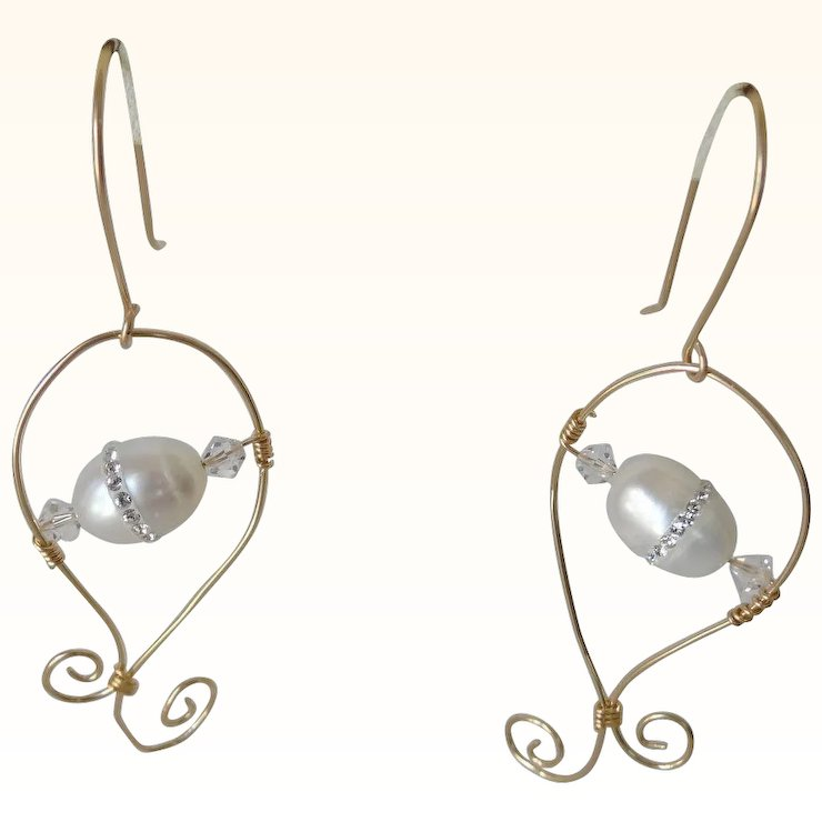 Dressy Pearl Earrings With Cz Inlay On Gold Filled Wire Spirals