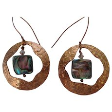 Textured copper earrings with Paua shell disks