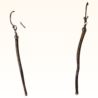 Curved copper stick earrings, with 24k gold plating and gold-filled ear wires