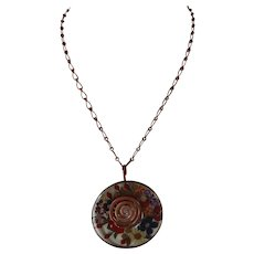 Real flowers embedded in Resin, Pendant with copper chain