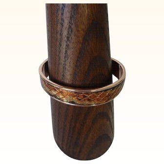 Gold-filled Cuff Bracelet with leather inlay