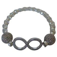 Wedding bracelet with Eternity focal bead, stretch