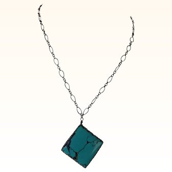 Turquoise Pendant with delicate oxidized silver chain