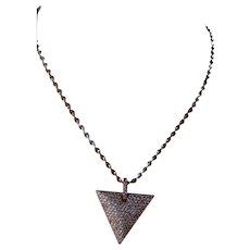Rose gold-filled Pavé triangular pendant
