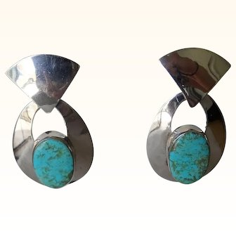 Contemporary Turquoise and silver Taxco earrings