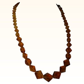 Faceted Topaz-colored crystal necklace, Gold-filled clasp