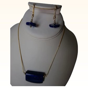Large blue lapis pendant with lapis disk earrings Set