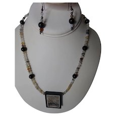 Picasso stone Jasper pendant with matching earrings set