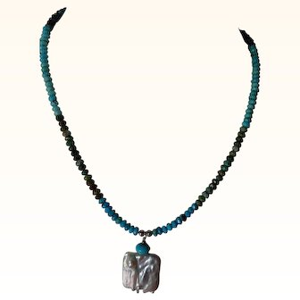 Faceted turquoise necklace with cultured pearl pendant