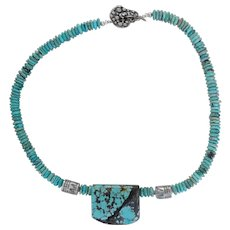 Turquoise Pendant with handmade silver separators and toggle clasp, turquoise nugget disks