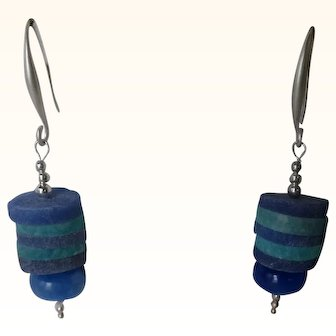 Matte lapis and Amazonite disk Bead earrings