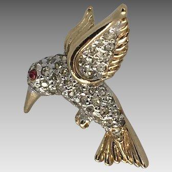 Vintage Panetta Rhinestone Hummingbird Pin