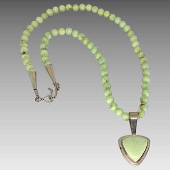 Gorgeous Green Gaspeite Sterling Silver Necklace & Earring Set