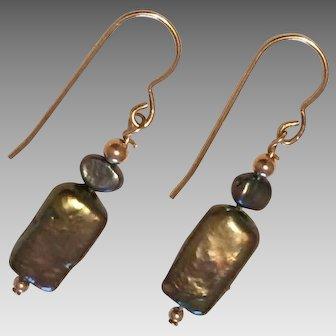 Cultured Freshwater Pearl Earrings - 14K Gold