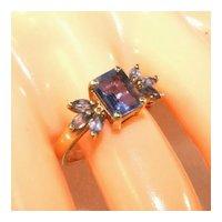 10K Yellow Gold Iolite Gemstones Cocktail Ring, Size 8 1/2