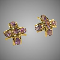 10k Gold & Amethyst Gemstone Five Stone Vintage Criss Cross, Hashtag #, Earrings