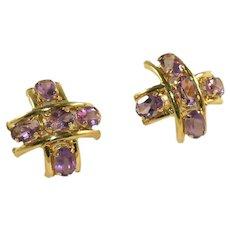10k Gold & Amethyst Gemstone Five Stone Vintage Criss Cross, Hashtag #, Earrings