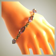 10k Yellow Gold Vintage Amethyst Gemstone Tennis Bracelet