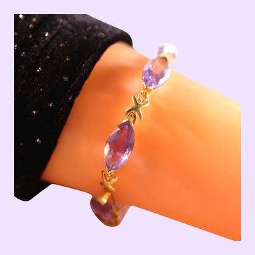 10k Yellow Gold Amethyst Hugs & Kisses Gemstone Tennis Bracelet