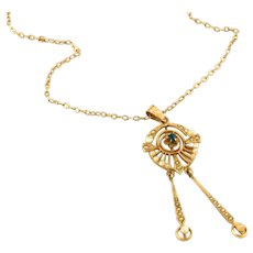 Antique Art Noueau 10k Gold, Seed Pearl & Sapphire in Tulip Setting Lavaliere Drop Pendant Necklace
