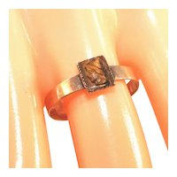 Antique Victorian 10K Yellow Gold Small Tigers Eye Carved Cameo Flat Band Ring, Size 7