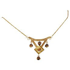 Antique Victorian 10k Gold, Sapphire & Seed Pearl Small Bib Necklace
