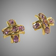 Gold & Amethyst Gemstone Five Stone Vintage Criss Cross, Hashtag #, Earrings