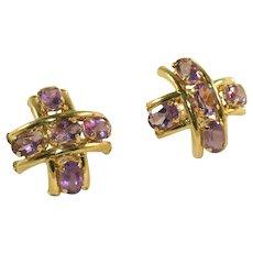 Gold & Amethyst Gemstone Five Stone Vintage Criss Cross, Hashtag #, Earrings