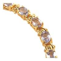 10K Yellow Gold Iolite Gemstone Tennis Bracelet, 27 Stones, Marked 10K