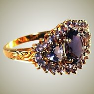 10k Yellow Gold Vintage Large Face Iolite Gemstones Ring, Size 7 1/2
