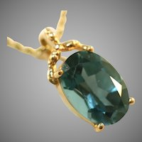 10K London Blue Topaz Pendant, Large Gemstone
