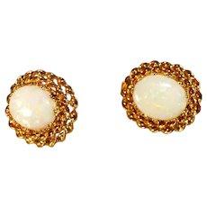 10K Yellow Gold Australian White Crystal Opal Pierced Earrings, Double Rope Border