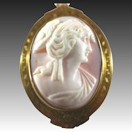 Antique 10k & Carved Pink Queen Conch Shell Greco Roman Woman Cameo Pendant & Pin