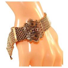10k Antique Rose Gold Victorian Wide Mesh Slide Bracelet, Five Red Stones!