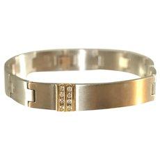 10K Stainless Steel & Diamante CZ Mens or GQ Bracelet
