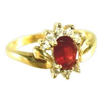 10k Pink Tourmaline, Diamond Accent & Ribbons of Gold Vintage Ring, Size 8