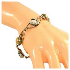 12kt Gold Filled Art Deco Open Back Crystals Vintage Link Bracelet