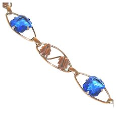 Yellow & Pink Gold 12K Filled Blue Stone c.1940 Vintage Bracelet